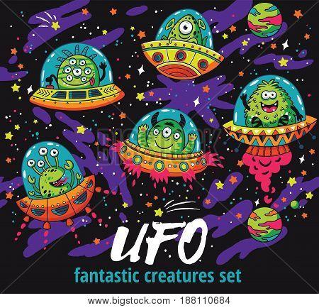 Set of cartoon alien monsters in the spaceships. UFO. Vector illustration