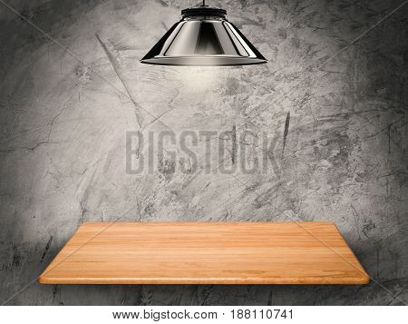 wooden shelf on cement background with 3d rendering hanging light bulb
