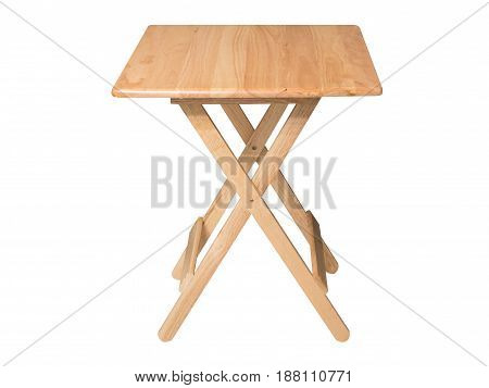 foldable wooden table isolated on white background