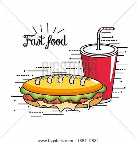 delicious sandwich and soda plastic cup with straw, vector illustration