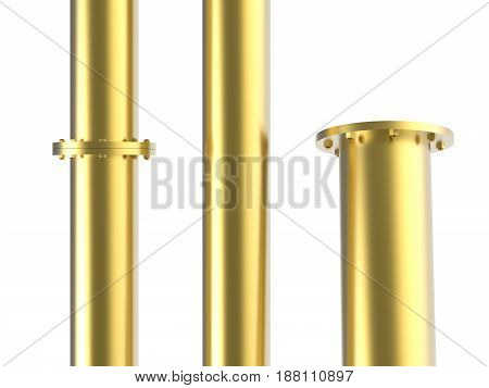 3d rendering golden pipe with flange joint isolated on white