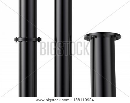 3d rendering black metal pipe with flange joint isolated on white