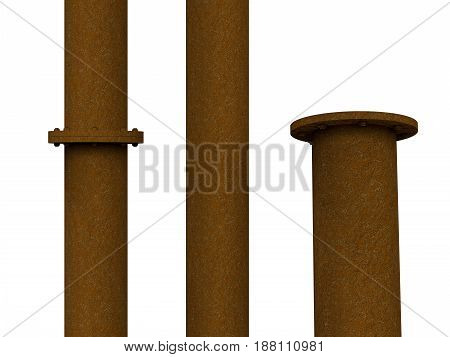 3d rendering rusty metal pipe with flange joint isolated on white