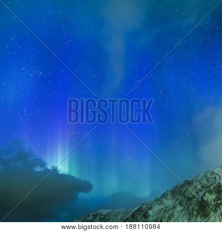 Amazing Picturesque Unique Northern Lights Aurora Borealis Over Lofoten Islands in Northern Part of Norway. Over the Polar Circle. Square Image Composition