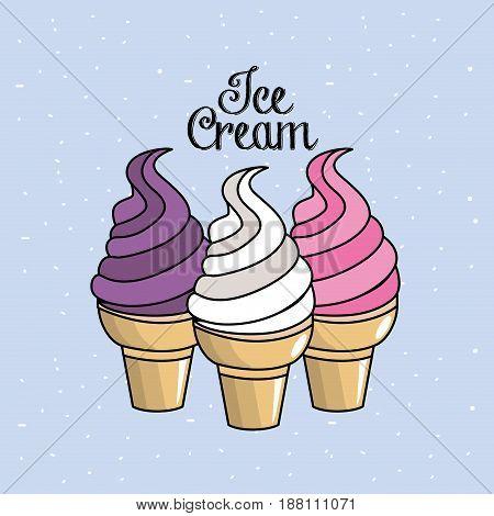 tasty ice cream in the cornet, vector illustration