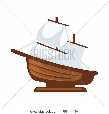 Vector illustration of simple sailboat figurine isolated on white.