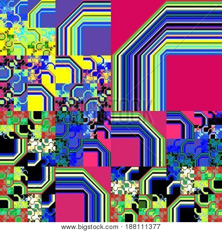 Abstract Geometric Background. Psychedelic Fractal Design In Crimson, Blue, Yellow And Green Colors.