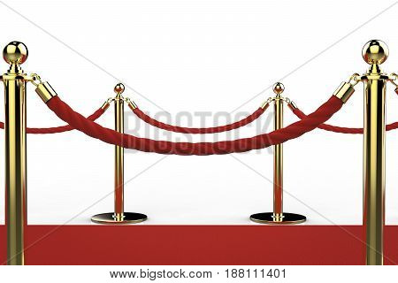 Golden Pillar With Rope Barrier On Red Carpet