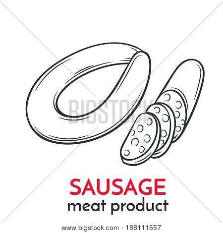 Hand drawn sausage icon. Vector badge meat product sketch style for brochures, banner, packaging menu and market