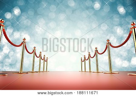 Red Carpet With Rope Barrier On Blue Background