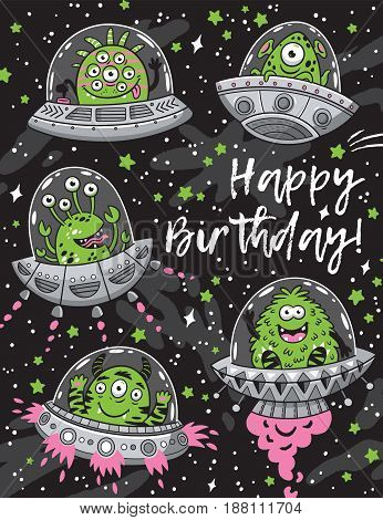 Cute happy birthday card with cartoon alien monsters in the spaceships. UFO. Vector illustration. Monster party card design