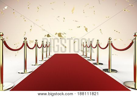 Red Carpet And Rope Barrier With Shiny Gold Glitter