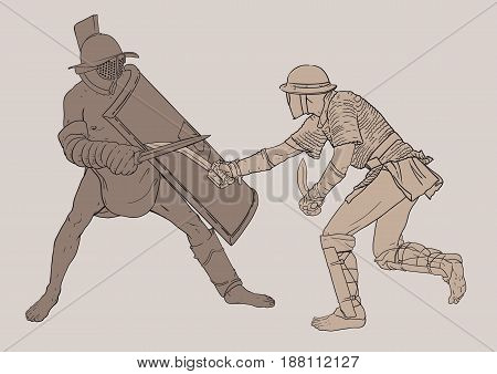 Historical reconstruction of two battling gladiators. The position of one gladiator relative to the other can be slightly changed, because the file is multilayered