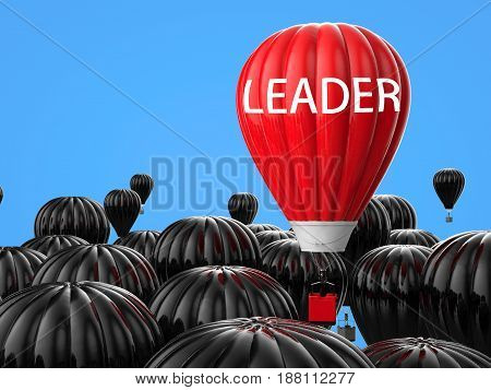 Leadership Concept With Red Hot Air Balloon