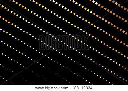 Abstract Geometric Texture With Golden Square Pixels On Black Background. Fantasy Hexagonal Fractal