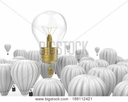 creativity concept with 3d rendering shiny light bulb above hot air balloons