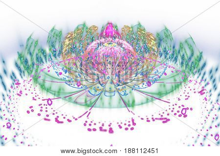 Abstract Exotic Rainbow Flower With Glowing Sparkles On White Background. Fantasy Fractal Design In