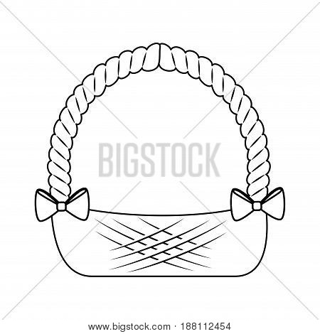 easter basket with decorative bows icon over white background. vector illustration