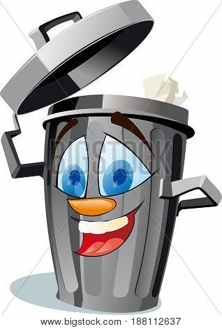 A funny trash canfully removes his cover like a hat and invites you to throw garbage into it