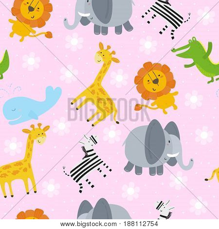 Cute hand drawn funny African animals. Seamless pattern