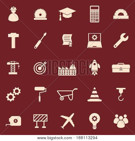 Engineering color icons on red background, stock vector