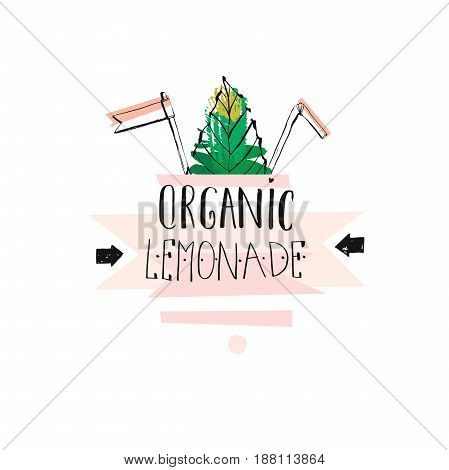 Hand drawn vector creative unique Lemonade sign with mint leaves, arrows and handwritten modern calligraphy quote Organic lemonade isolated on white background.Fresh Farm Market logo design, stamp, sign