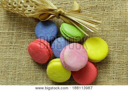 Delicious colorful sweet macaroons holiday time concept