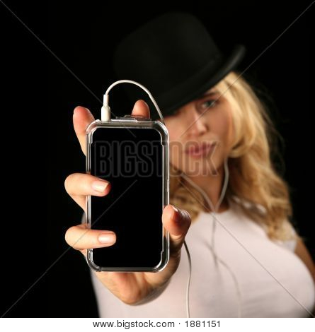 Blonde Woman Holding Mp3 Player