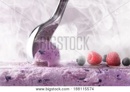 Making A Berry Ice Cream With Scoop Front View