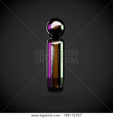 Glossy Black Letter I Lowercase With Colored Reflections