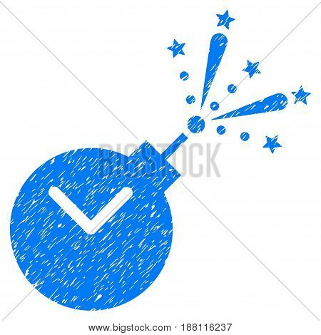Grunge Time Fireworks Charge icon with grunge design and scratched texture. Unclean vector blue pictogram for rubber seal stamp imitations and watermarks. Draft emblem symbol.