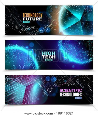 Geometric abstract shapes glowing in darkness 3 horizontal banners set scientific technology black background isolated vector illustration