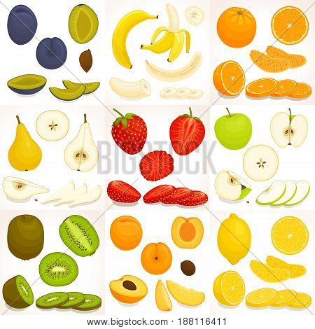 Fruit set. Whole sliced and chopped various fruit. Vector illustration