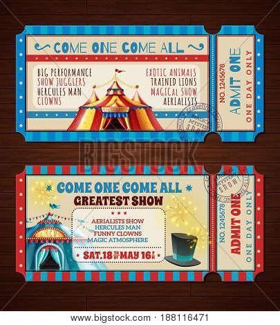 Travel circus retro entry tickets 2 banners set with with magic show striped tent isolated vector illustration