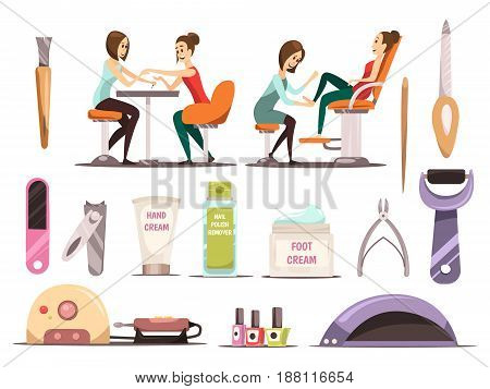 Manicure icons set with nail polish symbols cartoon isolated vector illustration