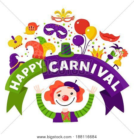 Mardi gras traditional carnival celebration invitation design  with happy harlequin and festive accessories icons composition vector illustration