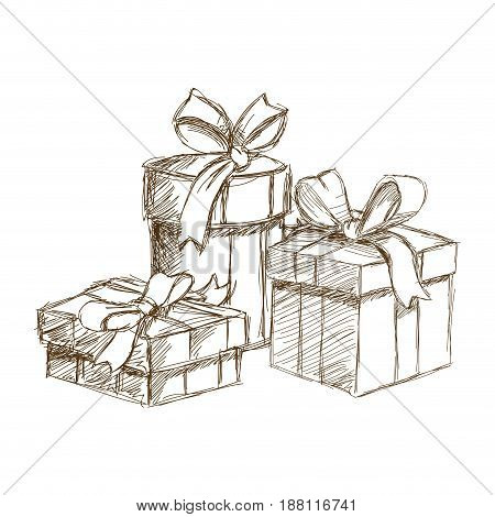sketch christmas gift boxes packaging. vintage engraved vector illustration