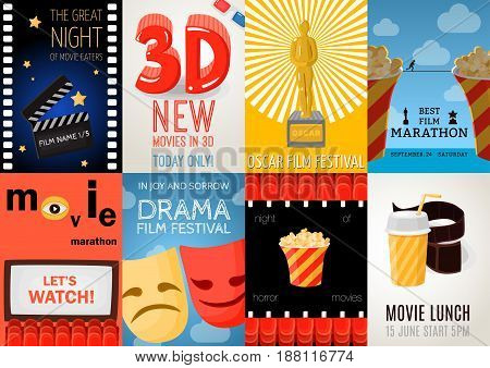 Set of eight cinema posters with film festival advertising and movie lunch symbols flat isolated vector illustration