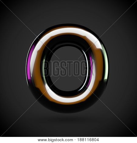 Glossy Black Letter O Uppercase With Colored Reflections