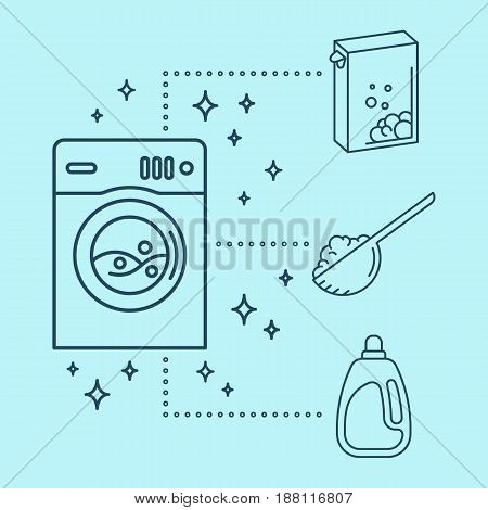 Laundry icons. Washing machine with washing powder bleach or conditioner.