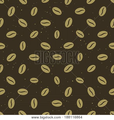Coffee beans seamless pattern. Golden coffee beans on brown background