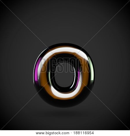 Glossy Black Letter O Lowercase With Colored Reflections