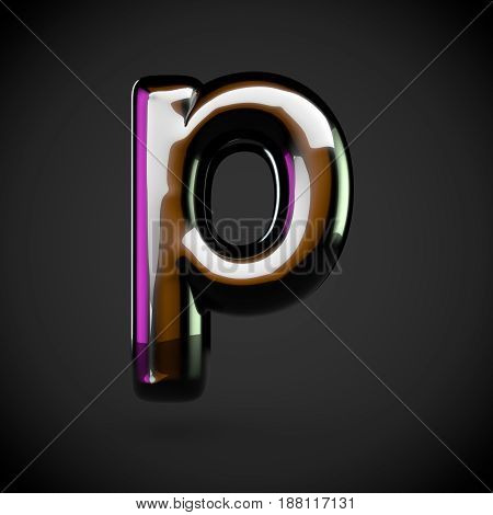 Glossy Black Letter P Lowercase With Colored Reflections