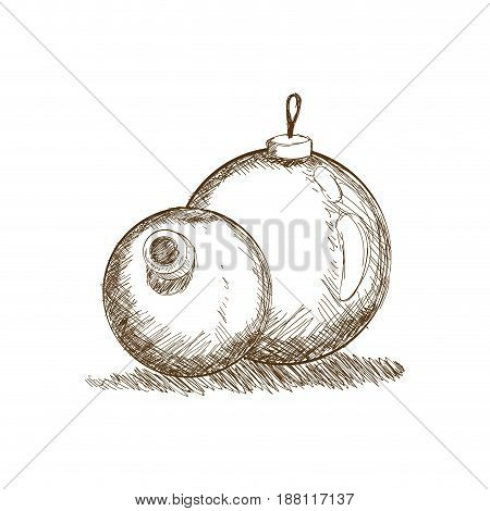 christmas bauble vintage engraved etching style vector illustration