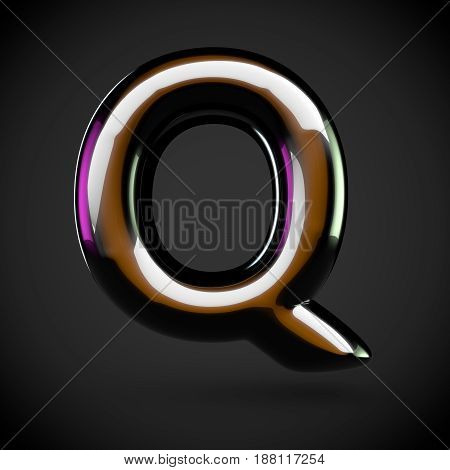 Glossy Black Letter Q Uppercase With Colored Reflections