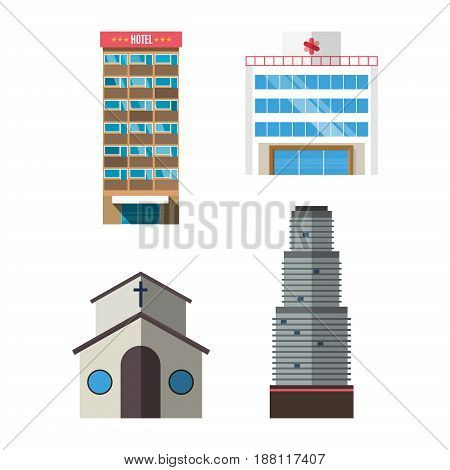 Downtown skyscraper hotel on shiny glass facades modern flat style vector illustration Construction abstract street cityscape exterior isolated on white background.