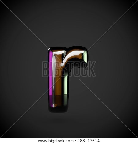 Glossy Black Letter R Lowercase With Colored Reflections