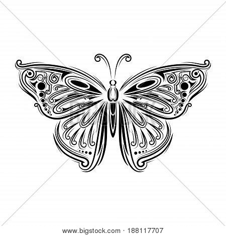 Stylized Fly Butterfly. Creative Bohemia Concept For Wedding Invitations, Cards, Tickets, Congratula