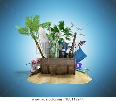 Concept Of Travel And Tourism Attractions And Brown Suitcase For Travel 3D Illustration On Blue