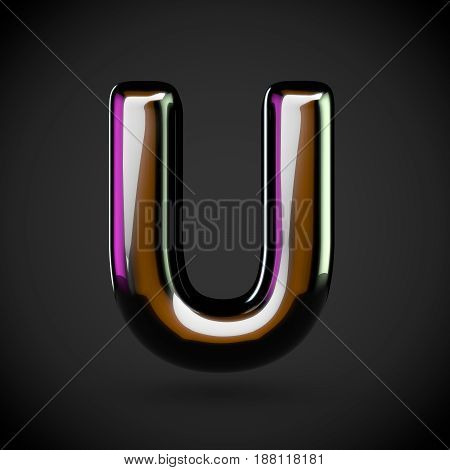 Glossy Black Letter U Uppercase With Colored Reflections
